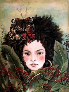 kandraleaves and butterflies original art by claudiatremblay
