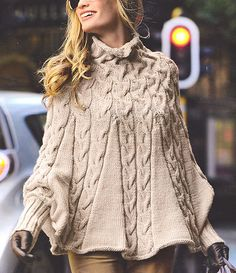Elegant Aran Poncho With High Collar & Cuffs S--L Knitting Pattern NO CHARTS ! | eBay