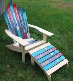 The ski chair body is crafted from old skis and 5/4″ cedar wood, sanded, and all edges are rounded.