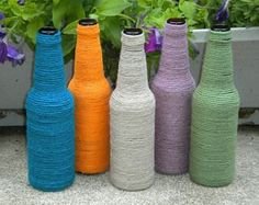 DIY Colorful Yarn Wrapped Bottle in 2 Easy Steps!