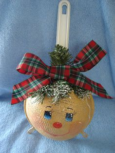 Here we have a gingerbread girl on a kitchen strainer