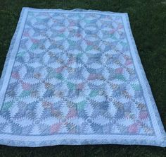 """Handmade Pastel Quilt Arch Quilts Hawthorne NY Various Pastel Shades 62""""X80"""""""