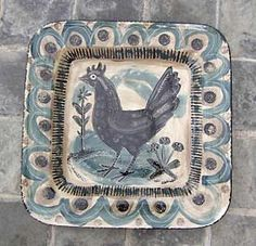 """Black Hen"" ceramic platter by Mark Hearld"