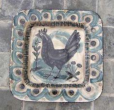 """""""Black Hen"""" ceramic platter by Mark Hearld"""