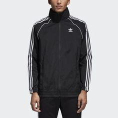 Super cool sneaker by adidas originals collection in high quality real leather, side jagged Strípes and derguten old superstar silhouette. The superstar belongs since 1971 to the adidas cult treads family. Adidas Tracksuit, Adidas Jacket, Blue Adidas, Adidas Men, Adidas Sneakers, Womens Windbreaker, Types Of Jackets, Adidas Originals Mens, Black Men