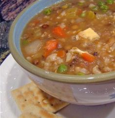 A healthful and hearty dinner: Lentil and Brown Rice #Soup #recipe. Use vegetable instead of chicken broth for a #vegetarian meal