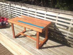 Small table I made out of recycled rimu. Good for sitting next to the couch . Small Tables, Recycled Wood, Picnic Table, Recycling, Couch, Furniture, Home Decor, Homemade Home Decor, Sofa