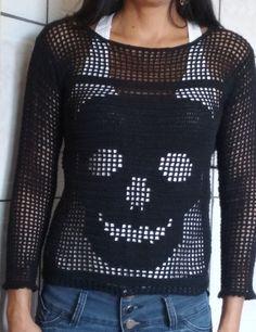 Gilet Crochet, Crochet Blouse, Crochet Stitches, Crochet Baby, Crochet Bikini, Knit Crochet, Crochet Skull Patterns, Halloween Crochet, Beautiful Crochet