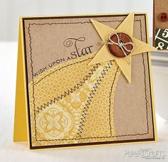 Wish Upon a Star Card by @Maggie Moore Hall Haas - great effect with the designer paper and the stitching.  Nice combination of fonts in the sentiment.