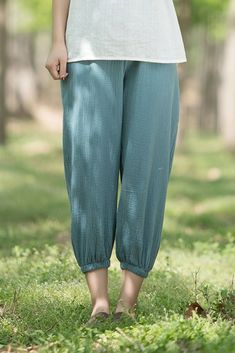 Women Vintage Cotton Plus Fours Summer Trousers Linen Pants Women, Trousers Women, Pants For Women, Clothes For Women, Linen Trousers, Fashion 101, Fashion Outfits, Womens Fashion, Fashion Trends
