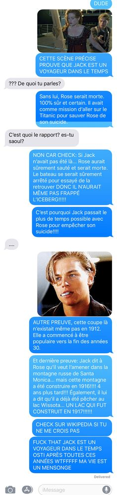 ConneriesQc - Version MobiletteIl dit une théorie de fou sur le Titanic | ConneriesQc Funny Facts, Funny Jokes, Die Titanic, Friendzone, Funny Cute, Haha, Funny Pictures, Fandoms, Humor