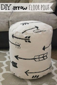 Sewing Projects for The Home - DIY Arrow Floor Pouf - Free DIY Sewing Patterns, Easy Ideas and Tutorials for Curtains, Upholstery, Napkins, Pillows and Decor http://diyjoy.com/sewing-projects-for-the-home