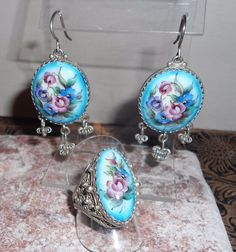 Vintage Earrings and Ring Set with Hand Painted Flowers and Filigreed Metal  | eBay http://www.ebay.com/itm/Vintage-Earrings-and-Ring-Set-with-Hand-Painted-Flowers-and-Filigreed-Metal-/253077214029?utm_campaign=crowdfire&utm_content=crowdfire&utm_medium=social&utm_source=pinterest