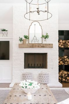 Brayden Uttermost Mirror - Arched Mirror - Mirror on Mantle - Fireplace Decor - Farmhouse Decor - Farmhouse Style - Farmhouse Design home decor fireplace Brayden Arch Mirror Uttermost Mirrors, Farm House Living Room, Farmhouse Remodel, Home Decor, Farmhouse Fireplace, Coastal Living Rooms, Fireplace Decor, Living Room Reveal, Rustic House