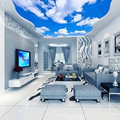 3D Wallpaper Blue Sky White Clouds Mural For Living Room Bedroom Ceiling #Unbranded