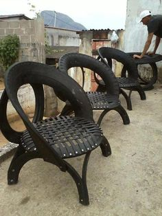 recycled tires - ok, I don't have the skill set to make these, but I think they're cool. Wonder if clothes would get black...?