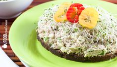 Healthy High Protein  Low Fat Tuna Salad Recipe - Hummus, tofu and alfalfa sprouts make this tuna salad recipe healthy, low fat  high in protein. Only 254 calories per 2/3 cup serving.
