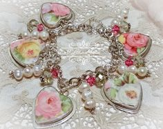 Nadia Rose Broken China Jewelry Charm Pearls Pink Yellow Roses Bracelet by BrokenChinaJewelry on Etsy https://www.etsy.com/listing/228529147/nadia-rose-broken-china-jewelry-charm