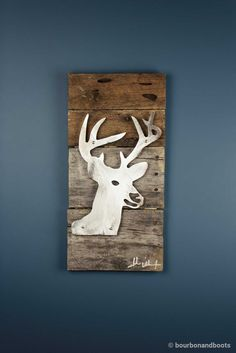 Buck Deer Head Reclaimed Wood & Shaped Metal Art $85