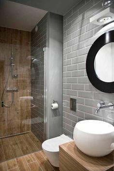 salle de bain 6m2 sol en dalles immitant bois et mur en dalles gris