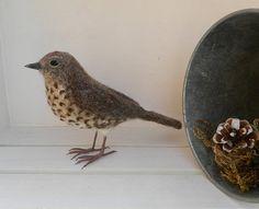 Needle Felted Song Thrush Bird Sculpture by MadeByAimeeUK on Etsy