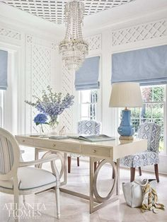 Home office inspiration!  #shopmattielu #office #homeoffice #traditional #homedecor #atlanta #blueandwhitehome