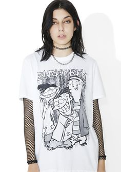Cul-De-Sac Kids Tee cuz yer always trying to figure out the next get-rich-quick scheme! Make yer rounds of the neighborhood in this dope oversized tee, featurin' a comfy white cotton construction, crew neckline, and graphic of the troublesome trio across tha front.