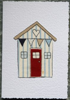 White Heart Beach Hut Fibre Art Greetings by AngiesTextileArt, £1.50