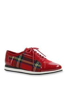 J Rene233 Red Multi Lace Up Fashion Sneaker