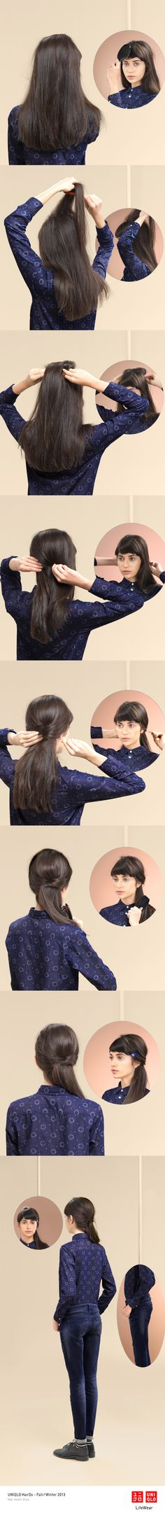 """""""THE LOW DOWN"""" : A quick and easy style, great with a pair of jeans for a day outside. Click the image for DIY instructions! #Twist #Hair #Hairstyle #DIY #UNIQLO #HairDo"""