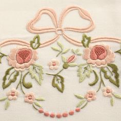Pure linen towel set with ribbon and pink flowers -  size 108x75 cm - Cod. C0004