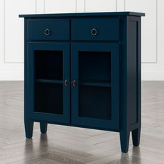 C&B Stretto Indigo Entryway Cabinet. Antiqued brass ring pulls on the drawers and faux key-style handles on glass-paned doors add to the cabinet's charm. The Stretto Indigo Entryway Cabinet is a Crate and Barrel exclusive. Entryway Cabinet, Narrow Cabinet, Entryway Furniture, Refurbished Furniture, Cabinet Furniture, Unique Furniture, Custom Furniture, Furniture Makers, Entryway Ideas