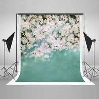 Wish | 3x5ft(100x150cm) White Flowers Photo Backgrounds Seamless Green Backdrop for Newborn Photography