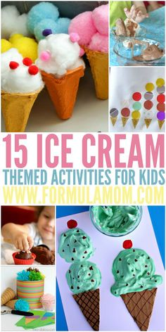 Ice Cream Activities for Kids! Perfect for Summer! Is summer heating up? Grab some ice cream with the kids and then bring the fun home with these ice cream activities for kids! These are great summer bucket list activities for kids! Summer Ice Cream, Ice Cream Day, Ice Cream Kids, Cream Cream, Ice Cream Theme, Ice Cream Parlor, Preschool Crafts, Crafts For Kids, Ice Cream Crafts