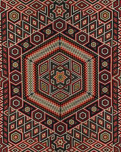 Military Quilt  Patchwork quilt made from pieced wool. Complex geometric pattern created from small hexagons featuring six point stars, large diamonds and hexagons in black, white, red, green and yellow. Each individual hexagon measures 1.5 cm in diameter. Backed with green damask.  Place of Origin    India (made)  Date    ca1864-77 (made)  Artist/maker    Brayley, Francis (designer and maker)