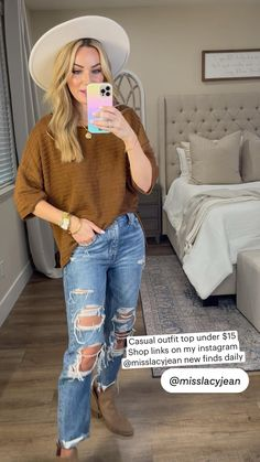 Casual School Outfits, Fall Outfits, Fashion Outfits, Fashion Ideas, Walmart Outfits, Thanksgiving Fashion, Amazon Clothes, Sweaters And Jeans, Casual Chic