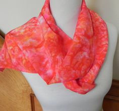Long Hand Dyed Silk Scarf in Shades of Orange by RosyDaysScarves, $45.00