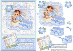 New Baby Boy & Bootees Vintage Decoupage - Card Making