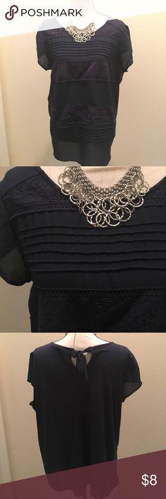 Cute Lauren Conrad top Great condition, Lauren Conrad, navy blue top with tie in back LC Lauren Conrad Tops Blouses
