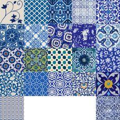 Cucina / Bagno blu indiano ceramica decalcomanie piastrelle /