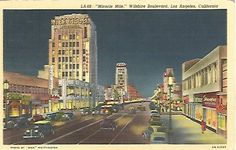 Vintage Linen Postcard  LA 68 Miracle Mile by postcardsintheattic, $3.99 New Listing: #postcard #ephemera #antique #vintage #vintagepaper #etsy #antiquepaper #collectible #antiquepostcard #vintagepostcard