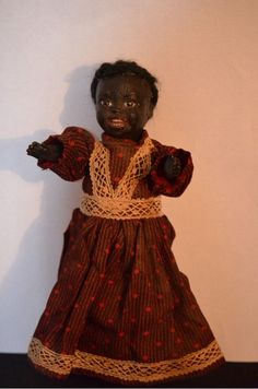 Antique Black Doll Papier Mache Glass Eye Jointed Doll Adorable from oldeclectics on Ruby Lane
