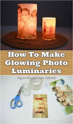How To Make Glowing Photo Luminaries - This DIY glowing photo luminary is so easy to make, and you can finish it up in about 10 minutes. Turn an ordinary photo into a beautiful lit up display that makes a wonderful gift for any occasion. Crafts For Teens To Make, Diy Crafts To Sell, Easy Crafts, Glow Crafts, Felt Crafts, Diy Photo, Photo Craft, Photo Candles, Diy Candles