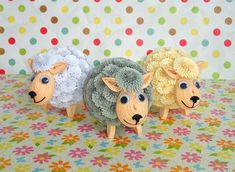 Set of 3 Quilled Easter lambs 3D Quilling lambs by QuillingLife