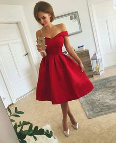 Red Party Dress,Off Shoulder Sleeves Graduation Dress,Tea Length Red Prom Dress,Sexy Red Homecoming Dress