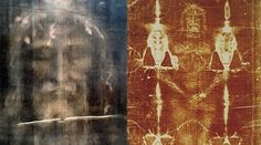The Shroud of Turin: modern, digitally processed image of the face on the cloth [left] and the full body image as seen on the shroud [right].