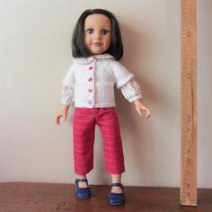Pantacourt en lin et coton rose fuschia pour poupées 45 cm
