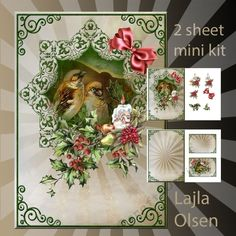 Cristmasbirds 7 by Lajla Olsen A5 cardfront with decoupage,insert andgiftcard.2 sheets for printing.Enjoy:): A5 cardfront with…