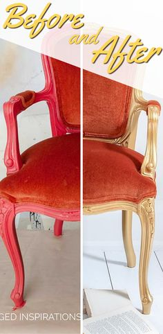 Before and Afters | Gold Velvet Chair Makeover | Salvaged Inspirations #siblog #salvagedinspirations #paintedfurniture #furniturepainting #DIYfurniture #furniturepaintingtutorials #howto #furnitureartist #furnitureflip #salvagedfurniture #furnituremakeover #beforeandafterfurnuture #paintedvintagefurniture #roadsiderescues #chalkpaint #chalkpaintedfurniture #diyprojects #diyfurnituremakeover #furniturerestoration #furnitureideas
