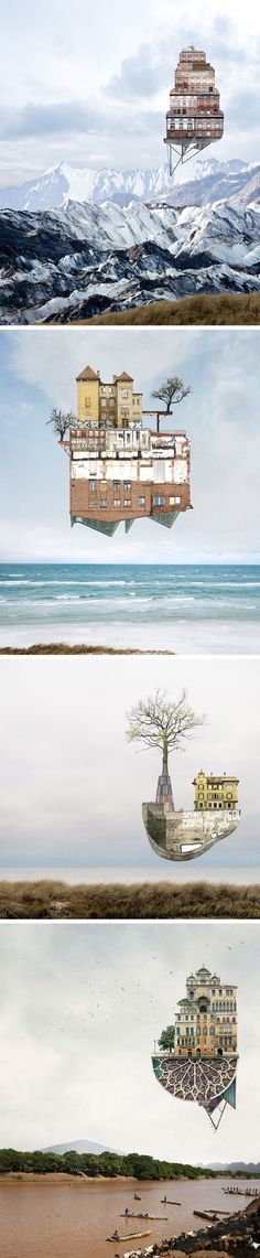 Surreal Architectural Collages That Float Above Serene Landscapes by Matthias Jung